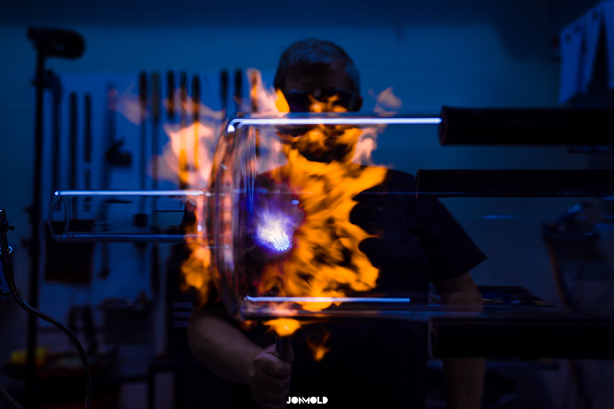 Flames whilst glass blowing