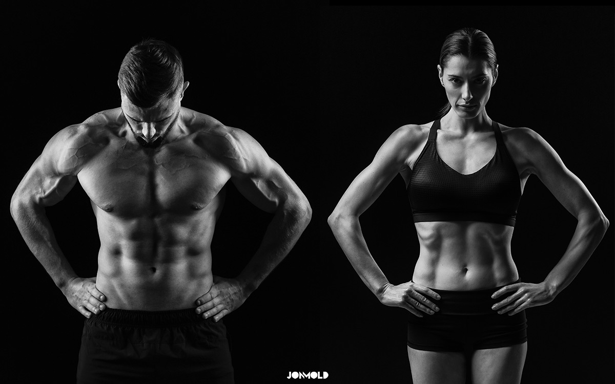 Male and Female Fitness Models in Photoshoot in black and white